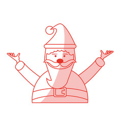 Red shading silhouette cartoon half body fat santa vector