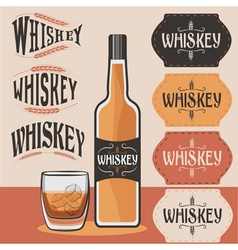 retro collection of whiskey bottleglass of whiskey vector image