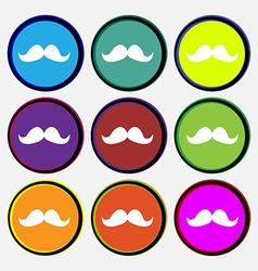 Retro moustache icon sign Nine multi colored round vector