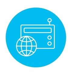 Retro radio line icon vector image