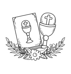 Sacred chalice with holy bible vector
