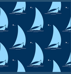 Sailing boat on waves against background vector
