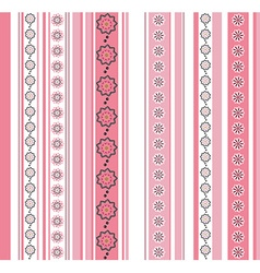 Seamless striped pattern with floral motif vector image