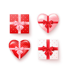 set gift boxes with silk bows in realistic vector image