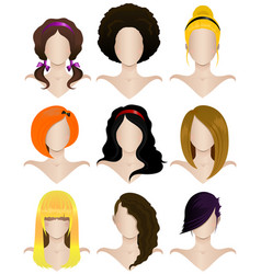 set nine womens hairstyles vector image