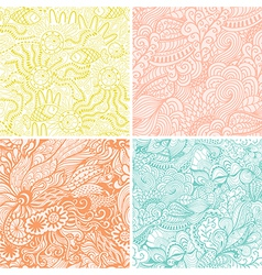 Set of four seamless hand-drawn pattern waves vector