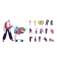 Set of senior male characters lifestyle homeless vector