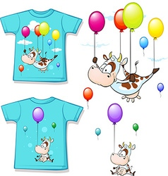 shirt with funny printed cow flying with balloon vector image