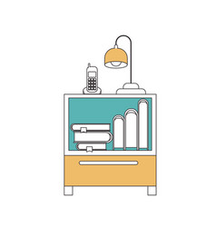 silhouette color sections of nightstand with vector image