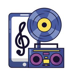 Smartphone vinyl boombox stereo festival music vector