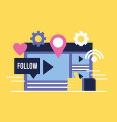 social media digital vector image