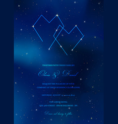 Starry night sky trendy wedding invitation card vector