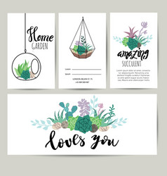 Succulent plant greeting card invitation flower vector