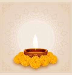 Traditional diwali puja background with diya vector