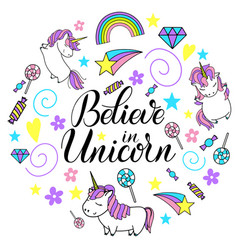 unicorn cute lettering and vector image
