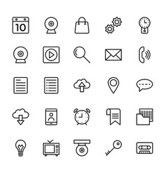 Web and mobile ui line icons 1 vector