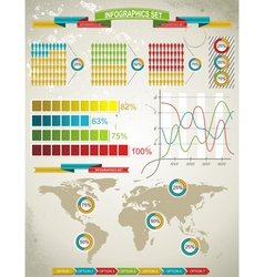 World Map and Charts vector image
