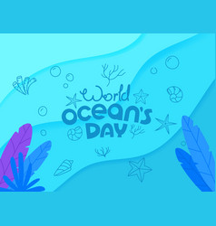 world oceans day concept doodle logo vector image