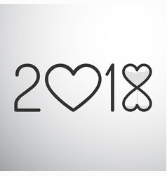 Year 2018 with hearts and sand watch vector