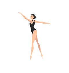 young professional ballerina in black leotard vector image