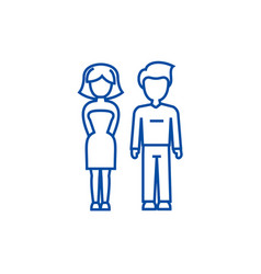 young successful couple man and woman line icon vector image