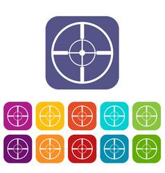 Aim icons set vector