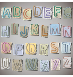 Alphabet on old paper vector image vector image