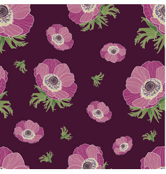 anemone flower pattern vector image