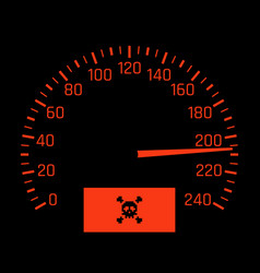 car speedometer dial with skull symbol vector image