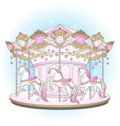 Carousel la belle epoque cute merry go round vector