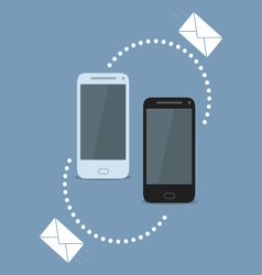 Smartphone sharing SMS vector image