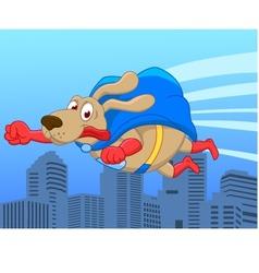 Super dog flying over city vector image