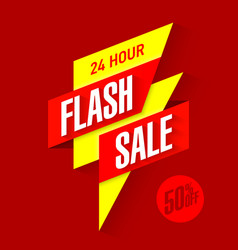 24 hour flash sale bright banner vector