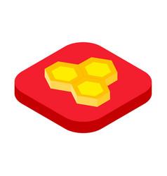 isometric honeycomb icon beekeeping concept vector image