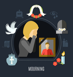 mourning concept set vector image vector image