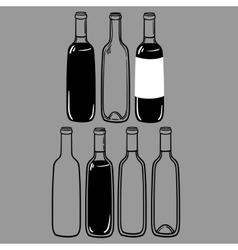 set of alcohol bottles of wine or a martini vector image