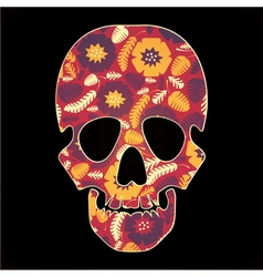 skull with colorful flowers on black background vector image vector image