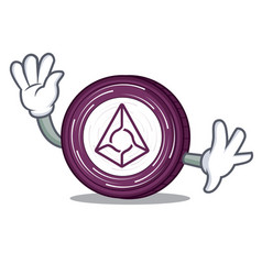 waving augur coin character cartoon vector image vector image