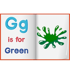 A picture of a green splash in a book vector image vector image