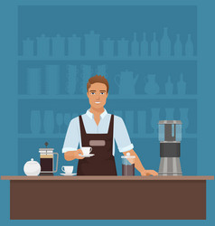 a smiling young man barista preparing coffee with vector image