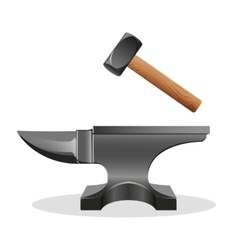 Anvil icon with hammer isolated on white Block vector image