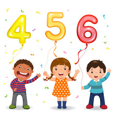 cartoon kids holding number 456 shaped balloons vector image vector image