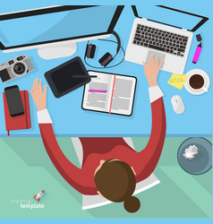 Flat design office workspace template vector image