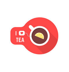 i love tea icon with teacup vector image vector image