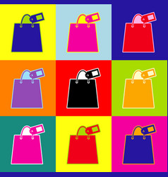 shopping bag sign with tag pop-art style vector image vector image