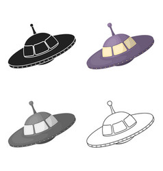 ufo icon in cartoon style isolated on white vector image