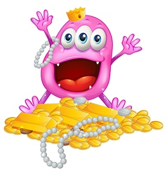A monster with gold bars and pearls vector image vector image
