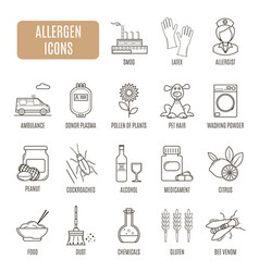 allergen icons set of pictogram vector image vector image
