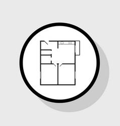apartment house floor plans flat black vector image vector image