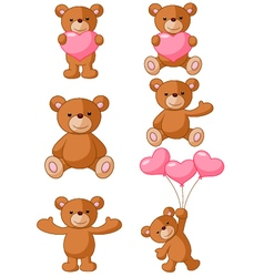 Cartoon Bear with pink love vector image vector image